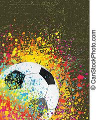 Splash Grunge Hintergrund mit einem Fußball. EPS 8