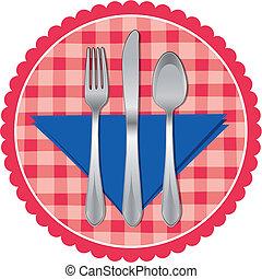 Spoon, Gabel und Messer auf Tischdecken
