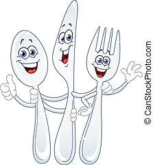 Spoonmesser und Gabeln Cartoon