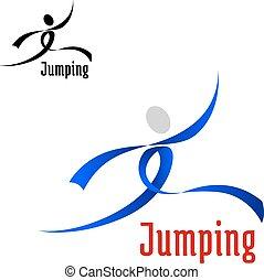 Sport abstraktes Emblem mit Springsportler.