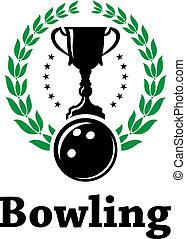 Sport Bowling League Label mit Lorbeerkranz.
