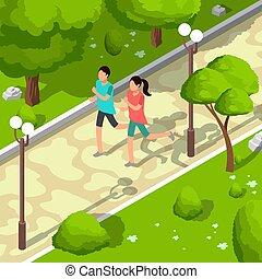 Sport Familie läuft in Park Vektor isometrische 3d Abbildung. Gesundes Lifestyle-Konzept