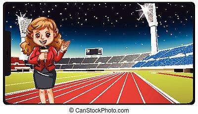 sport, nachrichten, smartphone, freigestellt, schirm
