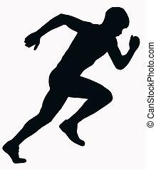 Sport-Silhouette - männlicher Sprint-Athlet.