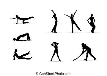 sport, silhouetten, frau, fitness