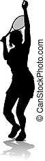 sport, spieler, frau, silhouette, tennis