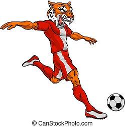 sport, tiger, fußballfootball, tier, maskottchen, spieler