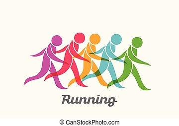 Sport treibende Menschen. Vector Logo