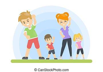 Sportfamilie im Park.
