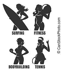 Sportfrauen Silhouetten
