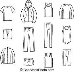 Sportkleidung.