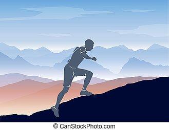 Sportläufer in der Berglandschaft. Vector schichtet