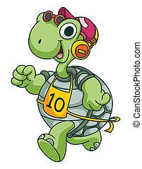 Sportlaufende Schildkröte lustige Cartoon.