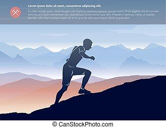 Sportlaufender Mann in der Berglandschaft Vorlage. Vector schichtet