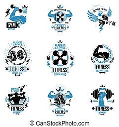 sportler, koerper, scheibe, sammlung, logotypes, thema, sport, geschaffen, silhouettes., plakate, hanteln, fitness, vektor, workout, begeisternd, muskulös, gewichte, ausrüstung, hanteln