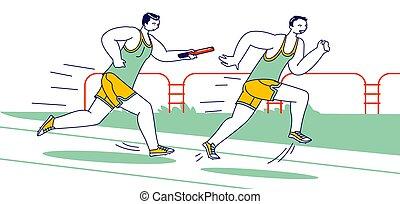sportler, stadium., roh, rennen, konkurrenz, mann, überwinden, charaktere, jogging, abstand betrieb, stab übergabe, baton., sport