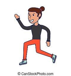 Sportlerin, die Zeichentrickfilme betreibt, isolierte blaue Linien.