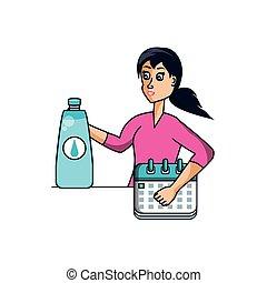 Sportlerin mit Kalender und Wasserflasche.
