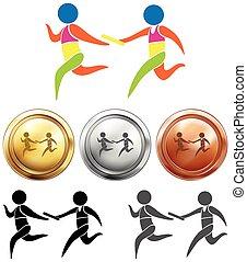 Sportmedaillen mit Staffellauf.