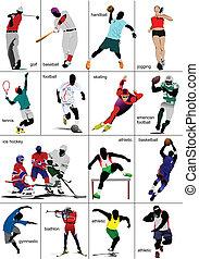 sports., collection., einige, arten