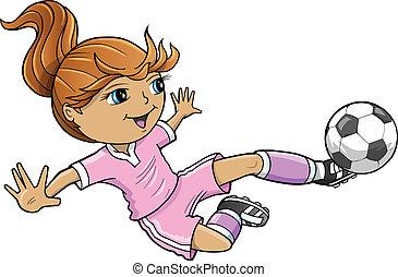 Sports-Sommer-Fußball-Mädchenvektor