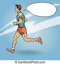 Sportsman läuft Konzept vektorgrafik im Retro-Comic Pop Art Stil. Sportler laufen Marathon