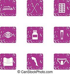 Sportunterwäsche Icons Set, Grunge Stil