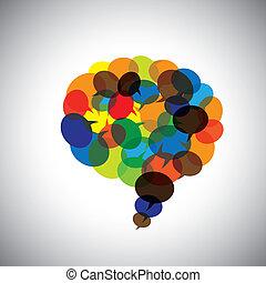 Sprachblasen, Sprechsymbole, Chat-Icons zusammen - Konzept vect
