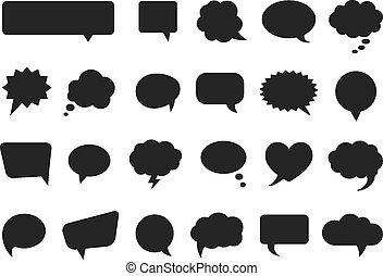 Sprechen und denken Vektor-Comics Blasen Silhouetten