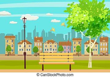 Spring Landschaft Stadtpark. Bench dich im Freien. Vögel singen. Blauer Himmel. Hell saftige Farben. Vector, Illustration, isoliert. Kartoonstil