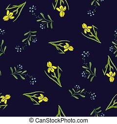 Spring nahtlose Muster mit Iris und vergessen-ich-nicht