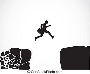 springen, geschäftsmann, sicher, begriff, risiko