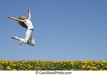 springen, glücklich