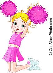 springende , cheerleading, m�dchen, reizend
