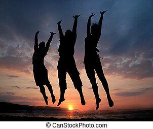 springende , drei leute