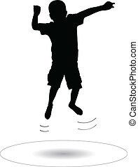 springende , junge, trampolin