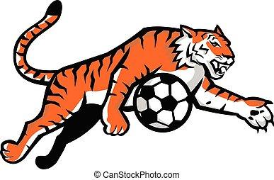 springende kugel, tiger, maskottchen, fußball