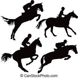 Springende Pferde mit Reitern