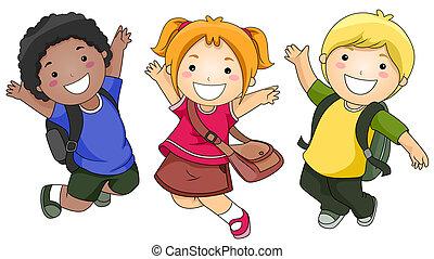 Springende Schüler