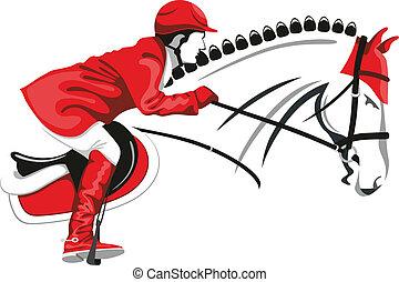 Springendes Pferd und Jockey