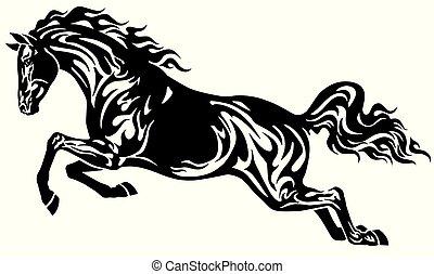 Springendes schwarzes Pferd
