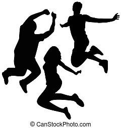 Springt auf Silhouette. Drei Freunde springen.