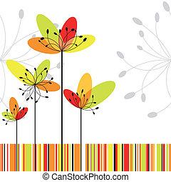Springtime, abstrakte Blume auf farbenfrohem Streifen