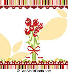 Springtime Liebesgrußkarte mit roten Rosenblumen