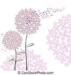 Springtime lila Hortensienblüte abbrechen