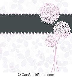 Springtime pinkfarbene Hortensien-Blumengrußkarte