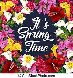 Springtime Poster mit Frühlingsblumenrahmen