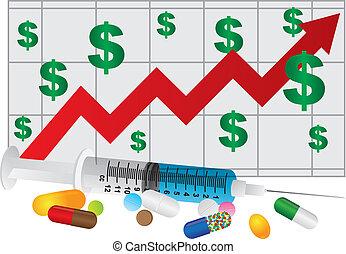 Spritze mit Medikamententabletten und Chart Illustration