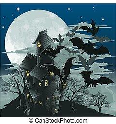 Spukhaus und Fledermäuse Illustration