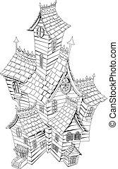Spukige Spukhaus-Illustration